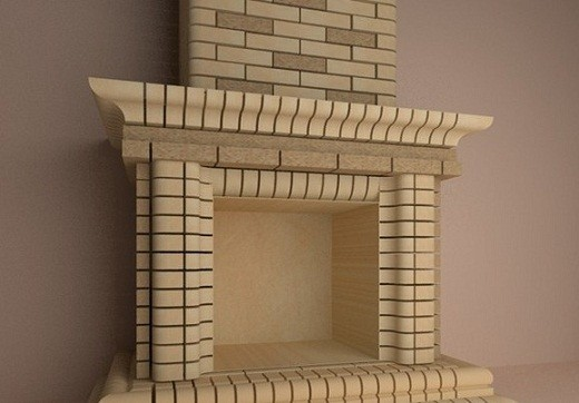 На фото пример отделки камина фасонным кирпичом