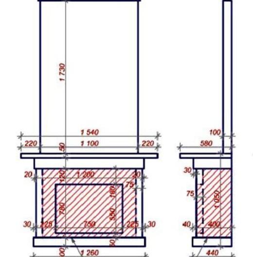 Расчет основания для камина из гипсокартона на схеме