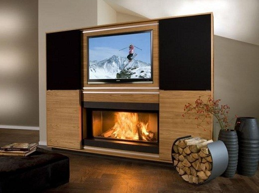 Камин-подставка под телевизор на фото