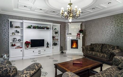 Интерьер в стиле модерн с угловым камином на фото