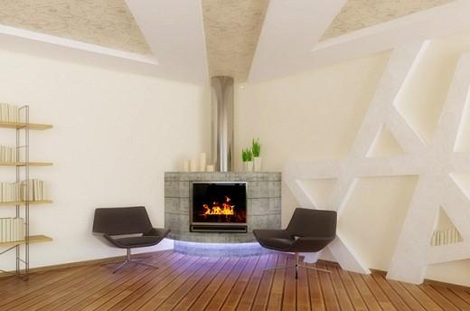 Угловой камин в интерьере гостиной в стиле модерн на снимке