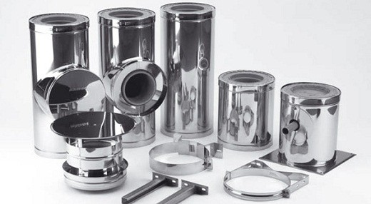 На фото составляющие элементы дымоходной системы «Schiedel kerastar»