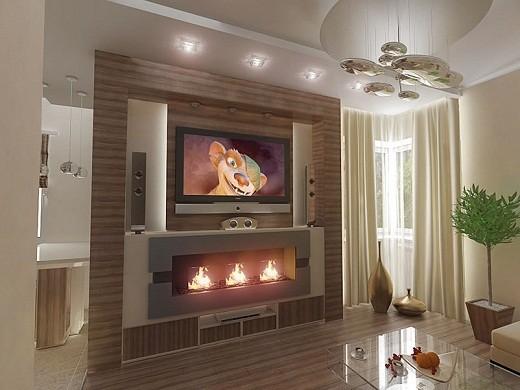 Пример совмещения встраиваемого электрического камина и телевизора на одной стеновой панели на снимке