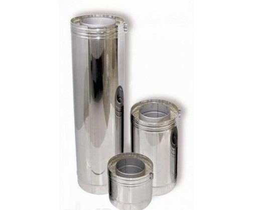 На фото составляющие элементы двустенного дымохода, выполненные из жаропрочной нержавеющей стали марки AISI 309