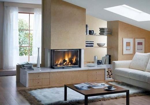 На снимке электрический камин представляет собой центральный элемент в доме