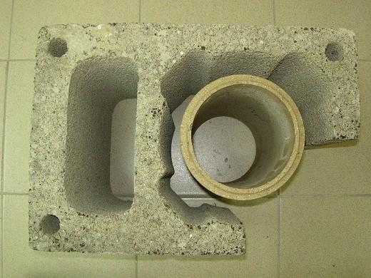 На фото керамзитобетонный блок с вентканалом под керамическую трубу