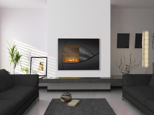 На фото навесной электрический камин с эффектом живого пламени