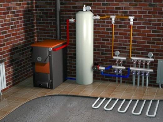 На снимке газовая печь для обогрева дома, схема подключения
