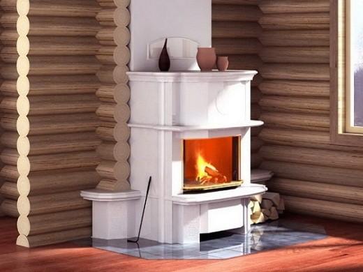 На снимке пример установки дровяного камина