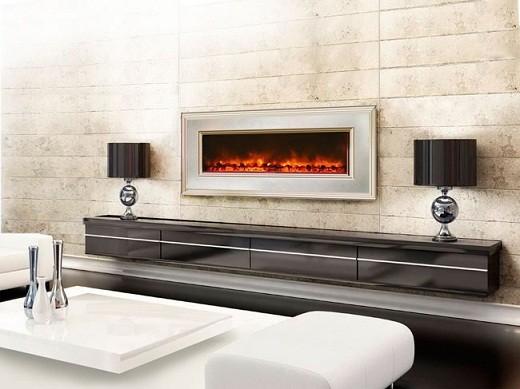 Встраиваемый камин с эффектом живого пламени на снимке