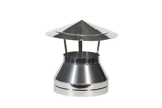 На снимке зонт для дымоходной трубы, выполненный из нержавеющей стали